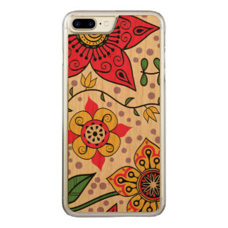 Cute Colorful Floral Illustration Carved iPhone 7 Plus Case