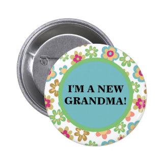 Cute Colorful Floral New Grandma Button