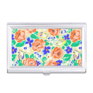 Cute colorful floral pattern business card holders