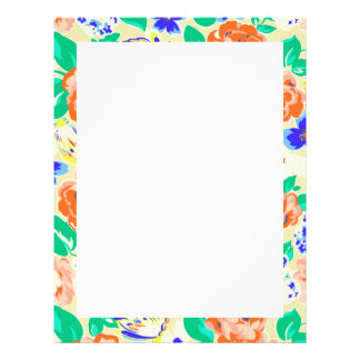 Cute colorful floral pattern customized letterhead