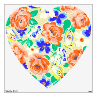 Cute colorful floral pattern wall sticker