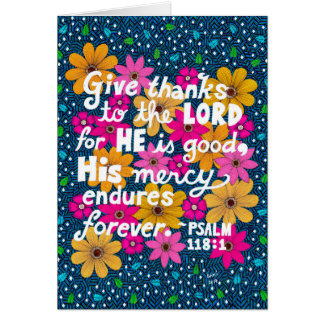 Cute Colorful Floral Thanksgiving Bible Verse Card