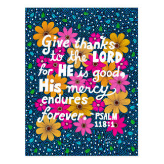 Cute Colorful Floral Thanksgiving Bible Verse Postcard