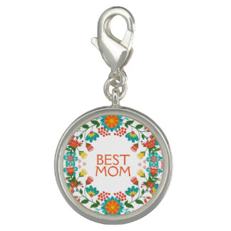 Cute Colorful Floral Wreath Best Mom Photo Charms