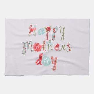 Cute Colorful Flower Letters-Happy Mothers Day Kitchen Towel