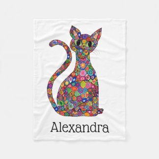 Cute Colorful Flower Mosaic Cat Monogram Name Fleece Blanket