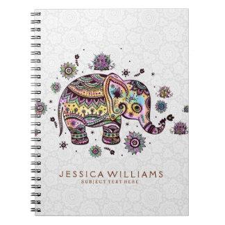 Cute Colorful Flowers Elephant Illustration Notebooks