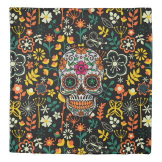 Cute Colorful Flowers Pattern Retro Floral Skull Duvet Cover