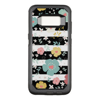 Cute Colorful Flowers & Stripes Black & White OtterBox Commuter Samsung Galaxy S8 Case