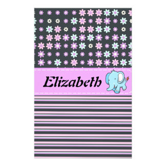 Cute Colorful Flowers Stripes Elephant Stationery Design
