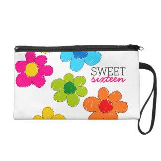 Cute colorful flowers Sweet Sixteen Wristlet
