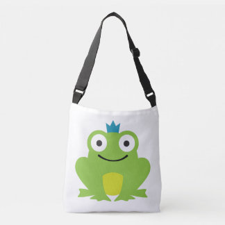 Cute, colorful frog with blue crown design crossbody bag