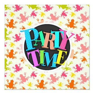 "Cute Colorful Frogs Pattern 5.25"" Square Invitation Card"