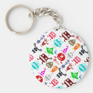 Cute colorful funny monsters patterns basic round button keychain