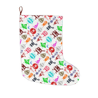 Cute colorful funny monsters patterns large christmas stocking