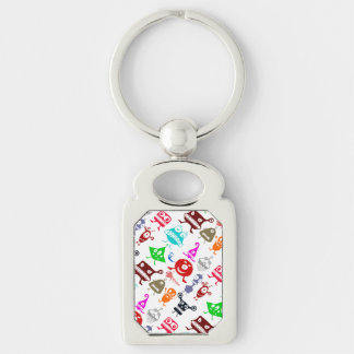 Cute colorful funny monsters patterns Silver-Colored rectangle keychain
