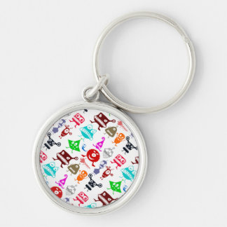 Cute colorful funny monsters patterns Silver-Colored round keychain