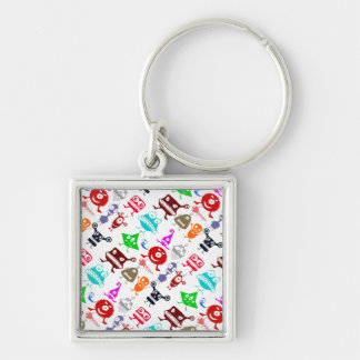 Cute colorful funny monsters patterns Silver-Colored square keychain