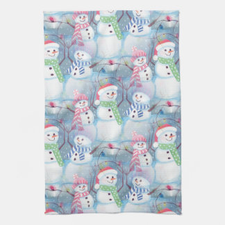 Cute Colorful Funny Winter Season Snowman Pattern Kitchen Towel
