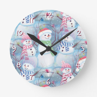 Cute Colorful Funny Winter Season Snowman Pattern Round Clock