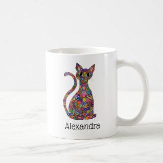 Cute Colorful Geometric Pattern Cat Monogram Name Coffee Mug