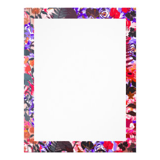 Cute colorful girley vintage flowers letterhead design