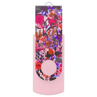 Cute colorful girley vintage flowers mixed USB flash drive