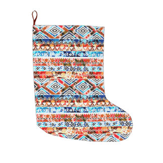 Cute colorful girly aztec patterns large christmas stocking