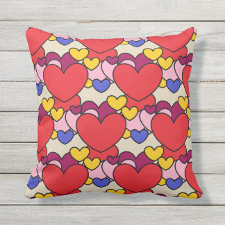 Cute Colorful Girly Hearts Pattern Outdoor Pillow