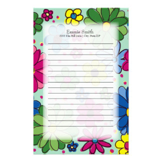 Cute Colorful Green Pink Blue Flowers Mint Green Stationery