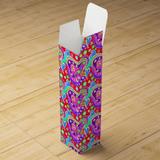 Cute colorful hand drawn pattern wine box