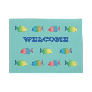 Cute Colorful Happy Fish Pattern Doormat