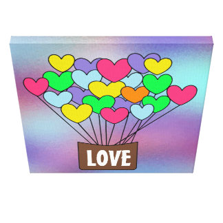 Cute Colorful Heart Shaped Balloons LOVE Canvas Print
