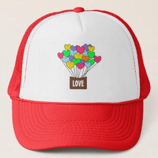 Cute Colorful Hearts LOVE Hot Air Balloon Trucker Hat