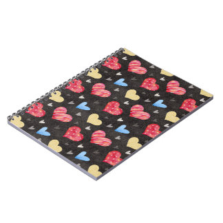 Cute Colorful Hearts Pattern Notebook