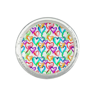 Cute colorful hearts pattern photo rings