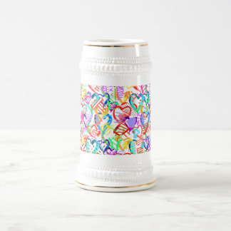 Cute colorful hearts patterns beer stein