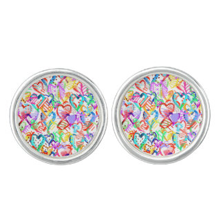 Cute colorful hearts patterns cufflinks
