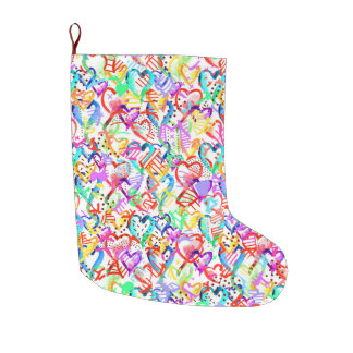 Cute colorful hearts patterns large christmas stocking