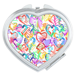 Cute colorful hearts patterns makeup mirror