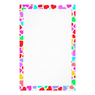 Cute colorful hearts patterns stationery