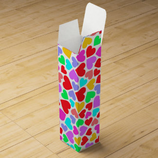 Cute colorful hearts patterns wine gift boxes