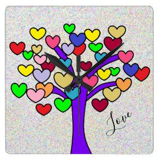 Cute Colorful Hearts Purple Love Tree Design Square Wall Clock