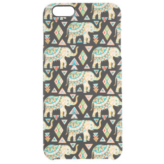 Cute colorful indian elephants pattern clear iPhone 6 plus case