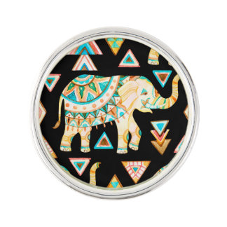 Cute colorful indian elephants pattern lapel pin