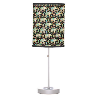Cute colorful indian elephants pattern table lamp
