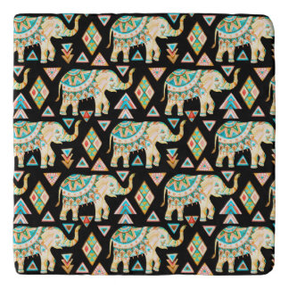 Cute colorful indian elephants pattern trivet