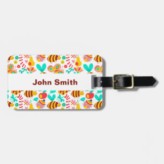 Cute colorful insects patterns luggage tag