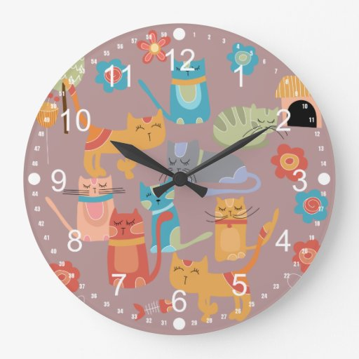 Cute Colorful Kitty Cats Gifts for Cat Lovers Pink Wallclocks