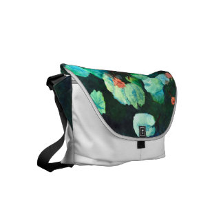 Cute & Colorful  Lilies In Water Messenger Bag
